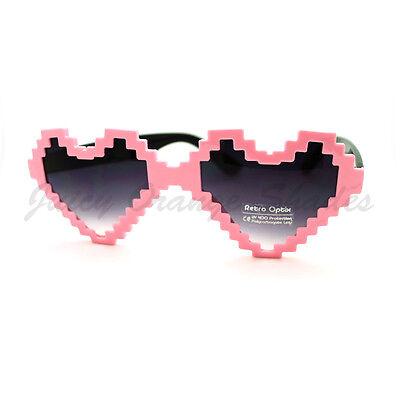 Pixelated Heart Shape Sunglasses Pixel Love Fashion (Pixelated Heart)