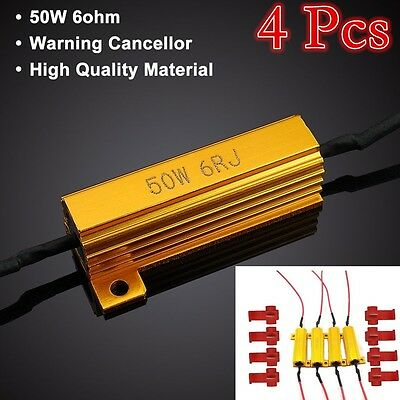 4pcs  50w 6 ohm Load Resistors LED Fog Lights Rapid Blinking Flickering Bulb