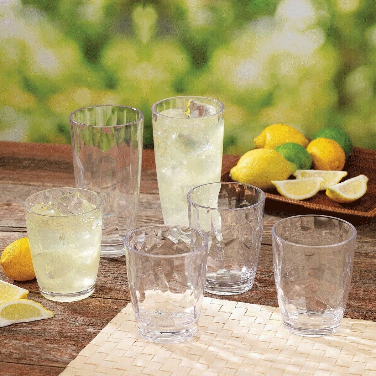 Tritan Clear Crystal Cut Acrylic Drinkware 12 Piece Set Quality Tumblers