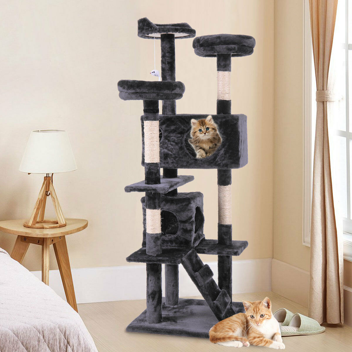 "60"" Pet Cat Tree Play House Tower Condo Bed Scratch Post Toy Black"