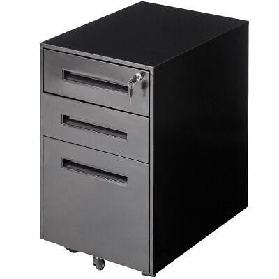 Rolling A4 File Cabinet Sliding Drawer Metal Office Organizer Storage Black