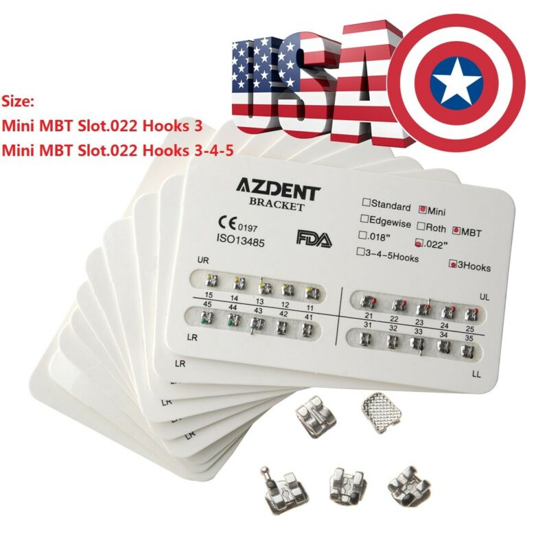 Azdent Orthodontic Brackets Dental Meah Base Mini Mbt Slot 0.022 3-4-5 / 3 Hooks