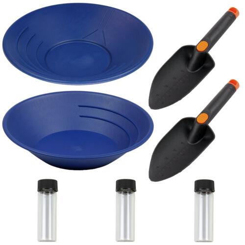 """10"""" & 14"""" Blue Plastic Gold Pans, Trowel, 6 ml Glass Vials"""