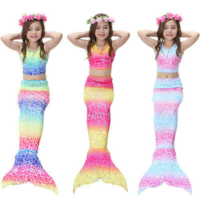 Mermaid Halloween Costumes For Girls (3PCS Girls' Swimsuit Mermaid Tail for Swimming Tropical Bikini Halloween)