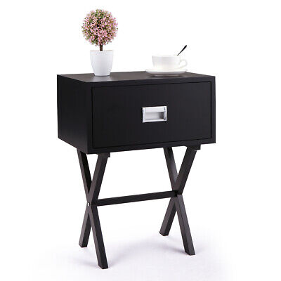 - Bedside Table With a Drawer Bedroom Modern Night Stand Wood End Side Black