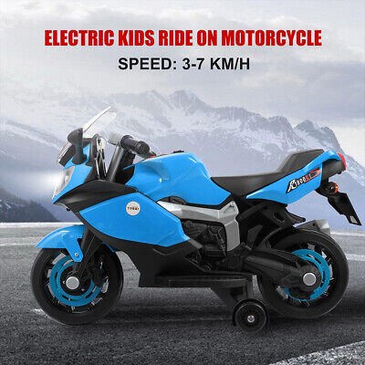 Kids 6V Ride On Motorcycle w/ Training Wheels Electric Toy Headlights Music Blue