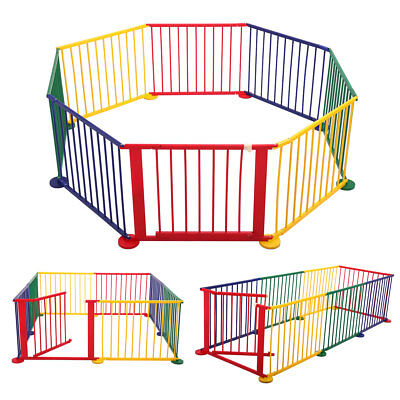 Wood Baby Playpen Kids 8 Panel Safety Play Center Yard Home Indoor Outdoor Game