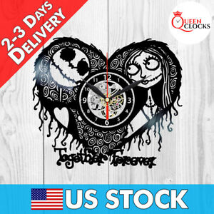 Sally Jack Nightmare Before Christmas Heart Vinyl Record Wall Clocks Decor Gifts