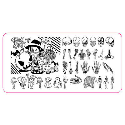 XL Stamping Schablone Halloween Hexe Totenkopf Knochen Nailart Stempelplatte #3 ()