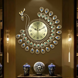 US-Stock Large 3D Gold Diamond Peacock Wall Clock Metal Watch for Home FREE Ship