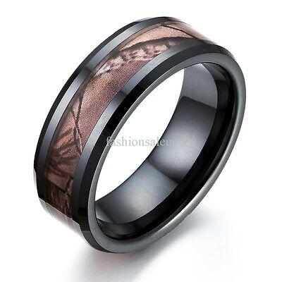 Black Ceramic Ring (Fashion 8mm Black Camouflage Ceramic Ring Womens Mens Wedding Anniversary)