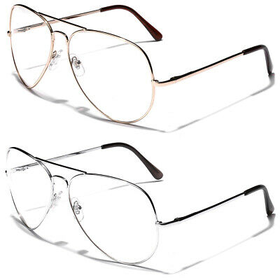 Non Prescription Oversized Retro Metal Aviator Clear Lens Men Women Face (Aviator Glasses Women)