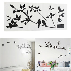Albero e uccello adesivi parete wall stickers decorazioni muro camera da letto ebay - Stencil albero da parete ...