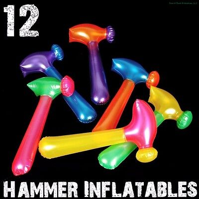 (12) Neon Hammer Tool Inflatables ~ Blow Up Pool Party Fun Kids Toy Game Favors - Kids Blow Up Pool