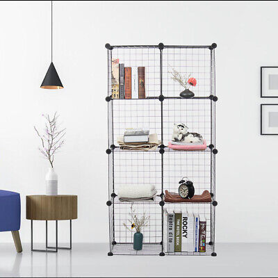 8/12 Metal Cube Storage Shelves Closet Organizer Stackable Rack DIY Grid Wire Closet Organizers