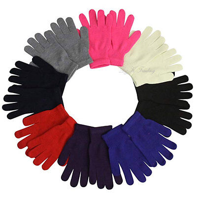 24-240 Magic Assorted Warm Winter Gloves Knit Knitted Casual Stretch Thermal Lot