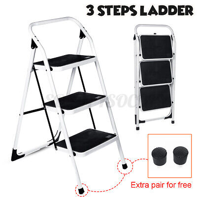 Protable 3 Steps Ladder Extension Folding Anti-Slip Safety Tread Heavy Dut *f