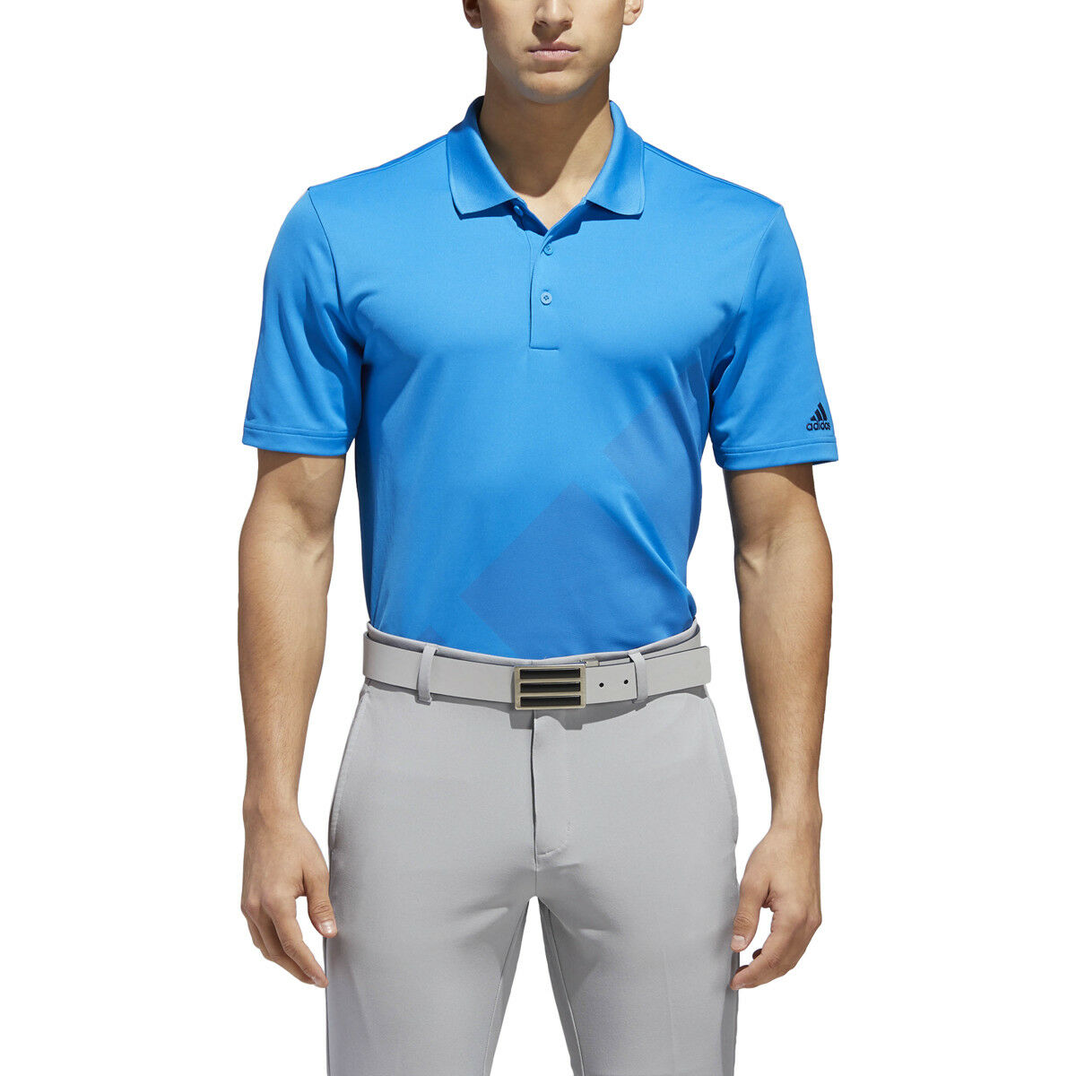 New 2018 Adidas Bold 3-Stripes Golf Bright Blue Polo Shirt Medium (M)