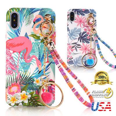 Plush Flamingo With Chain Pendant Tassel Grip strap Case Fits Apple iPhone