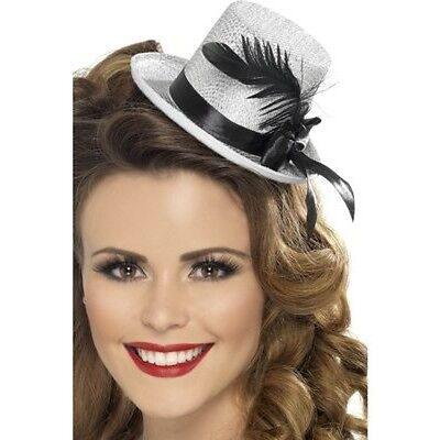 Silver Mini Top Hat Black Feather Flapper Mad Hatter Costume Fancy Dress Womens - Mad Hatter Mini Hat