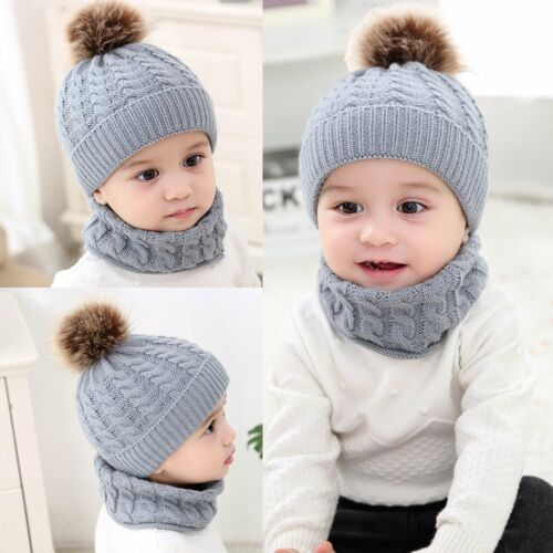 2Pcs Baby Boy Knit For Girl Winter Hat Toddler Kid Warm Beanie Crochet CapScarf