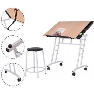 Tiltable Tabletop Drawing Table Craft Art Drafting Easel Folding Desk W/ Stool