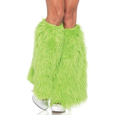 FURRY LEG WARMERS GREEN NEON ADULT HALLOWEEN COSTUME ACCESSORY SIZE STANDARD (Green Furry Costume)