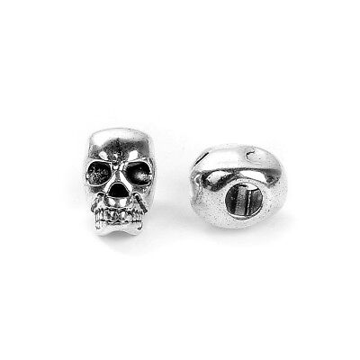 10 Silver Metal SKULL Beads, Large Hole, drilled top to bottom 12mm, bme0412a ()