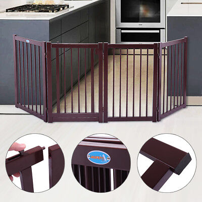 "30"" Dog Pet Gate Indoor Barrier Standing Folding Safety Fence Security 4 Panel"