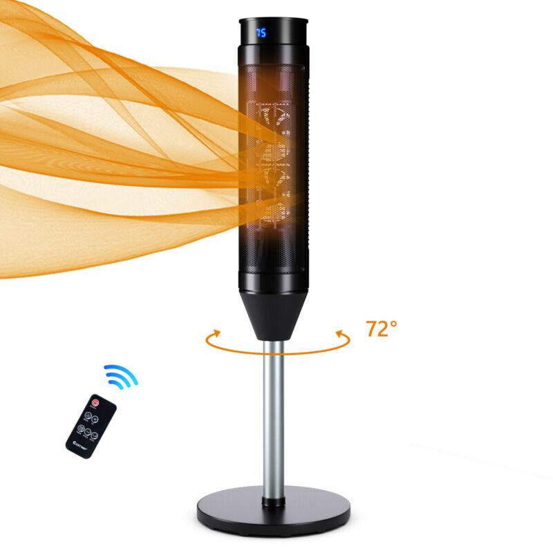 Costway 1500W Portable Oscillating Ceramic Pedestal Heater w/ Timer Remote Room