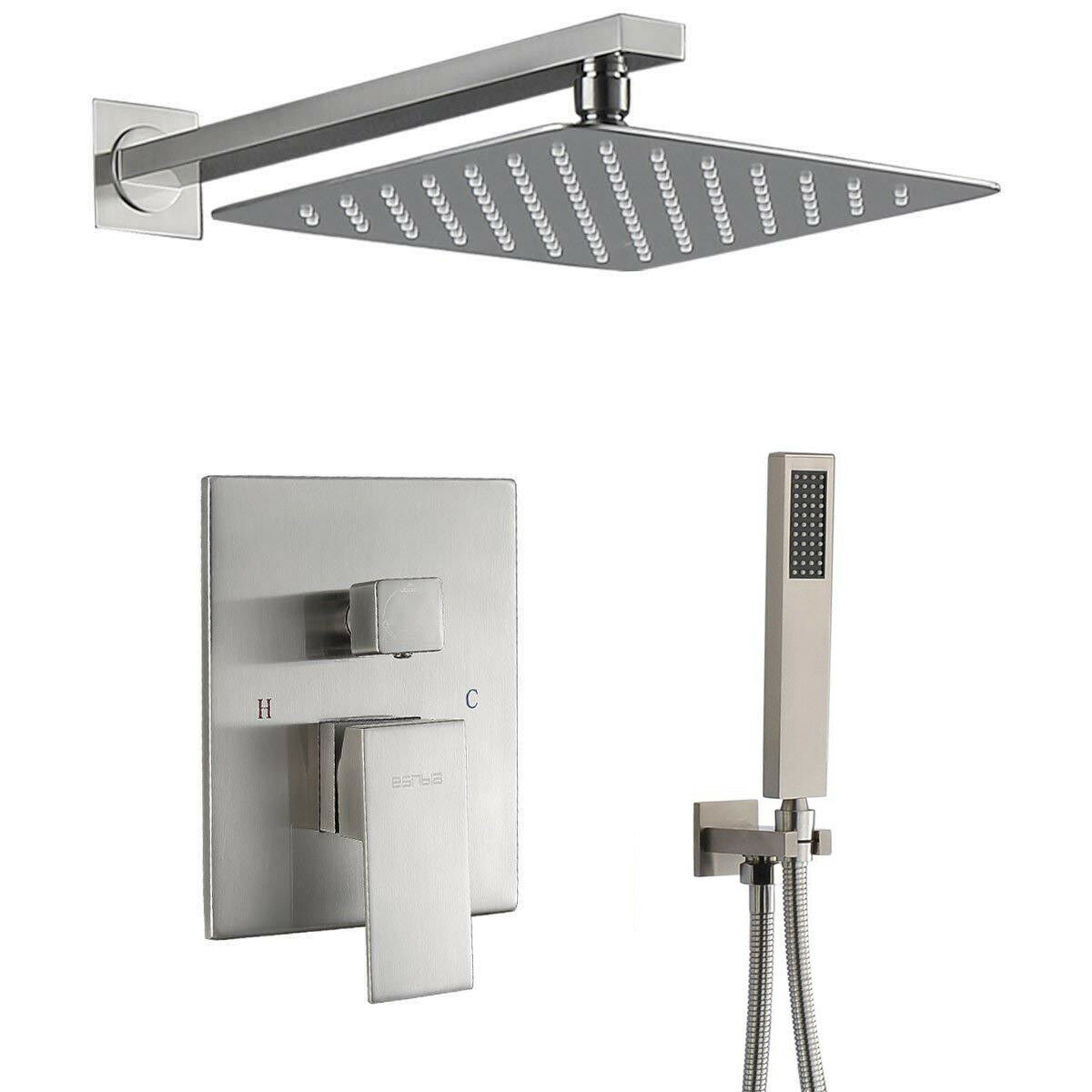 8-inch Bathroom Rainfall Brass Shower Faucet Set Mixer Valve Tap Brushed Nickel