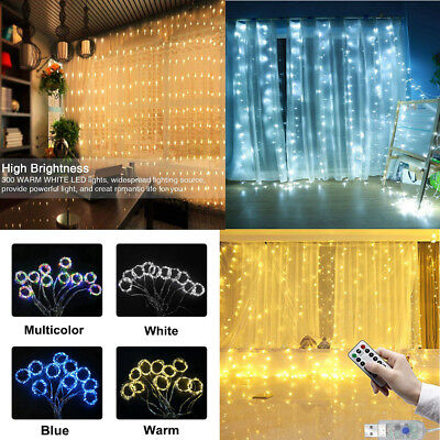 300 LED Fairy Curtain String light for Xmas Christmas Wedding Party Connectable](Light For Party)