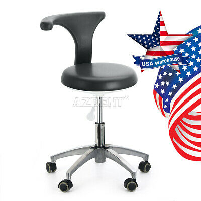 Black Dentist Doctor Assistant Stool Adjustable Mobile Chair Pu Hard Leather Ups
