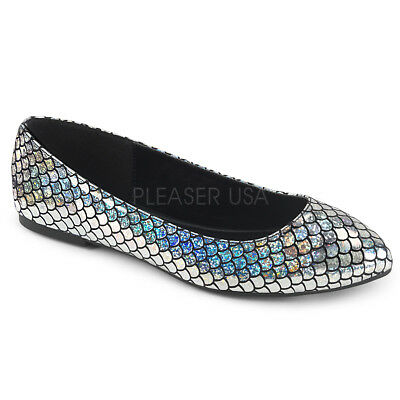 Silver Mermaid Fish Scales Ballet Slippers Costume Shoes Womans size 7 8 9 10 11