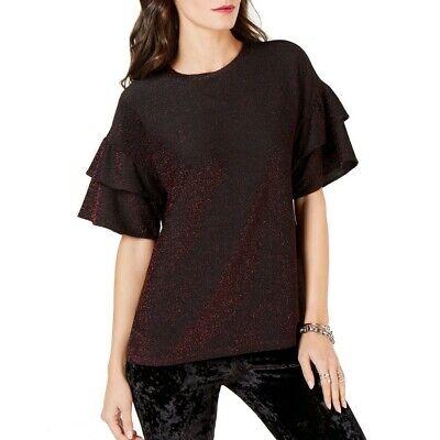 MICHAEL KORS Women's Metallic Ruffle-sleeve Blouse Shirt Top TEDO Michael Kors Womens Blouse