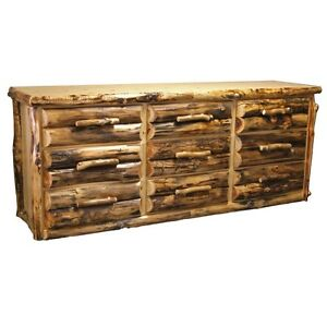 9 drawer log dresser country western rustic cabin dresser for Cabin furniture sale