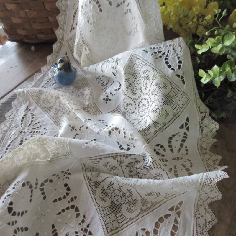 Vintage Handmade Mixed Lace Embroidered 12 Placemats + Runner