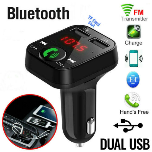 In-Car Bluetooth FM Transmitter Radio MP3 Wireless Adapter Car Kit 2 USB Charger