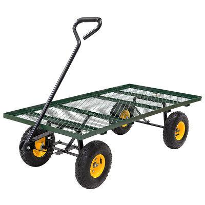 Wagon Garden Cart Nursery Steel Mesh Deck Trailer 800LB Heavy Duty Cart Yard Gar