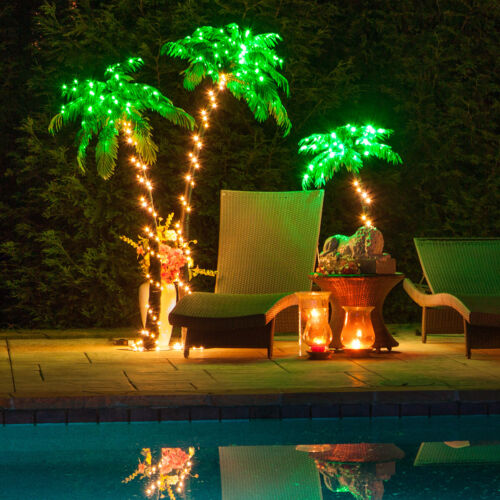 Curved LED Lighted Palm Tree Home Patio Decor 10 Function Remote Control & Timer