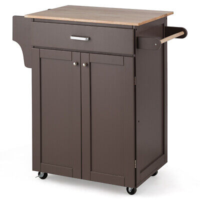Rolling Kitchen Island Utility Kitchen Cart  Cabinet With Spice Rack Brown