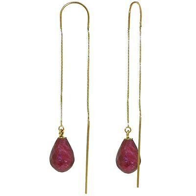 - Genuine Red Ruby Briolette Gems Threader Earrings 14K Yellow, White or Rose Gold