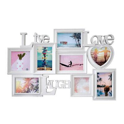 Große LIVE LOVE LAUGH Bildergalerie Bilderrahmen Rahmen für 8 Bilder weiß P-721 (Große Kunststoff-bilderrahmen)