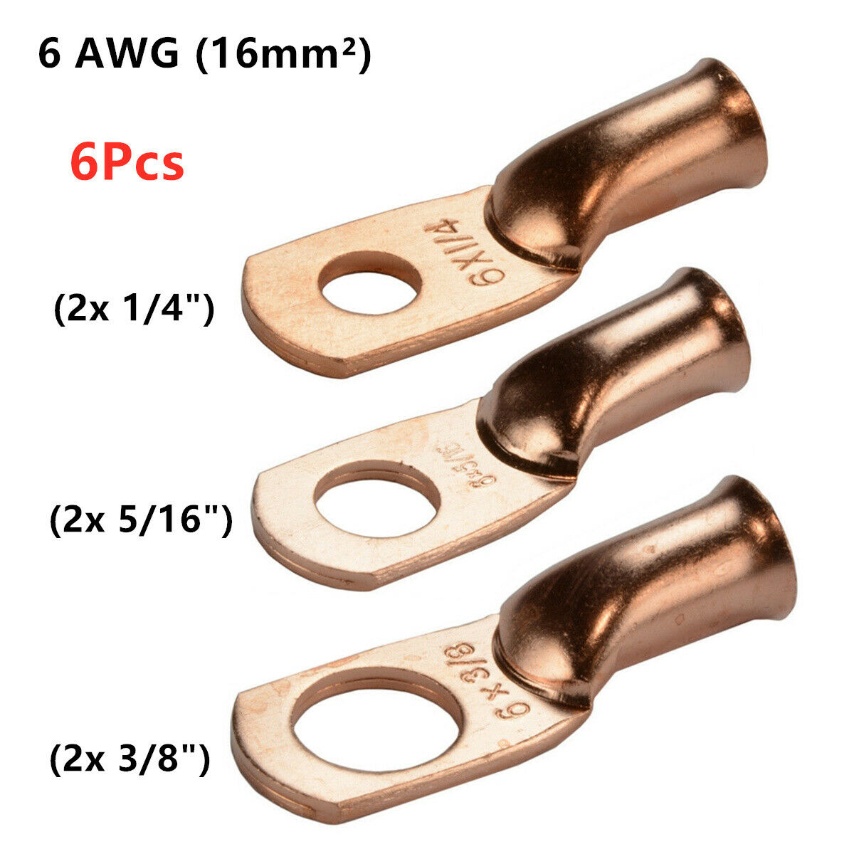 """4 Wire Ring Terminal Copper 8 AWG Gauge 5//16/"""" Connectors Car Audio Terminals"""