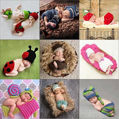 Lot Newborn Baby Girls Boys Crochet Knit Costume Photo Photography Prop Outfits