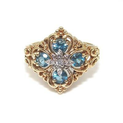 Gorham 10K Yellow Gold Blue Topaz Diamond Cross Heart Ring Size 8.5 Blue Topaz Heart Cross