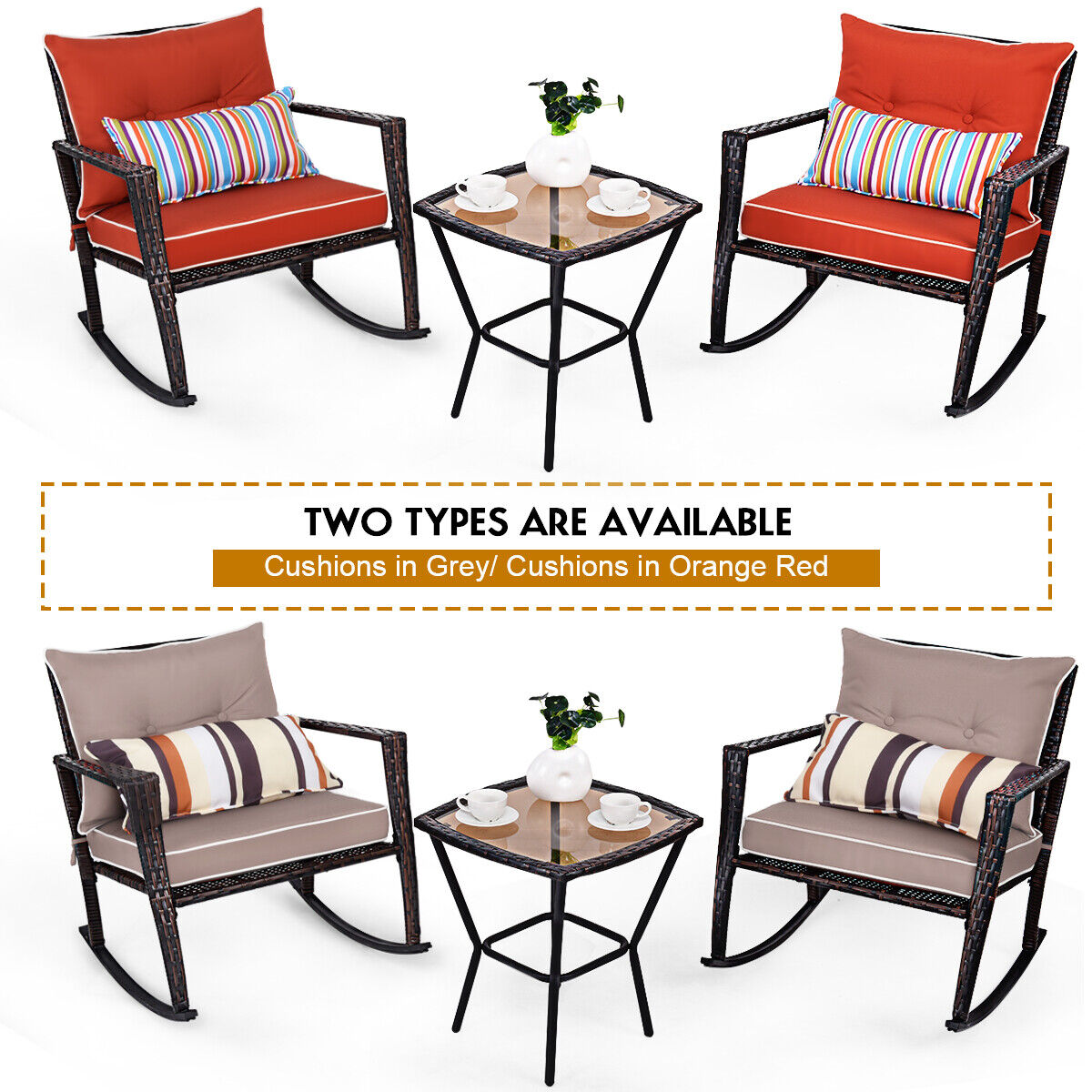 Garden Furniture - 3 PCS Rattan Garden Furniture Bistro Set Rocking Chairs & Dinning Coffee Table