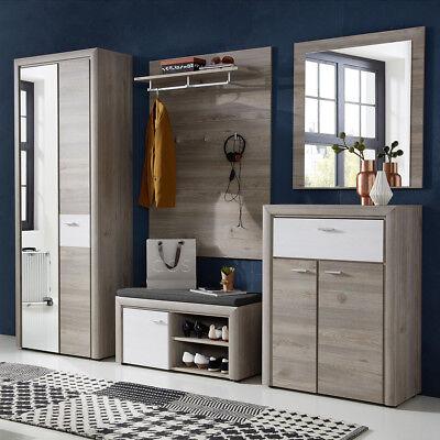 Moderner Runder Schrank (Garderobe Rocky Set Dielenschrank Paneel Kleiderhaken Silbereiche Flurmöbel)