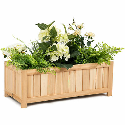 Rectangle Wood Flower Planter Box Portable Folding Raised Vegetable Patio Lawn - Wood Flower Box