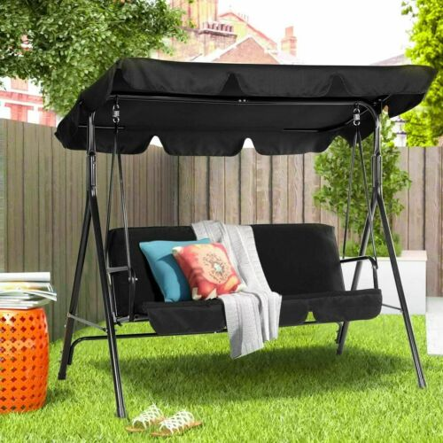 3-Person Outdoor Swing Chair Patio Hanging Bench W/ Canopy & Removable Cushion